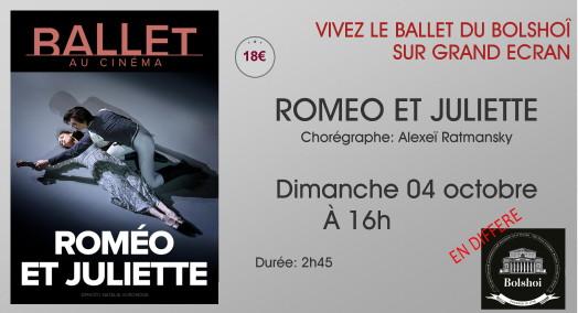 Ballet du Bolchoi: ROMEO ET JULIETTE // Dimanche 04 Octobre à 16h (En différé)