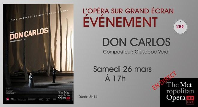 Opéra en direct de New-York: DON CARLOS // Samedi 26 mars à 17h