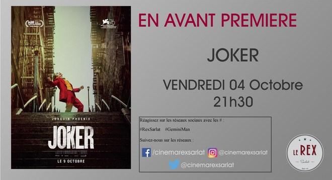 Avant Première: JOKER // Vendredi 04 Octobre à 21h30