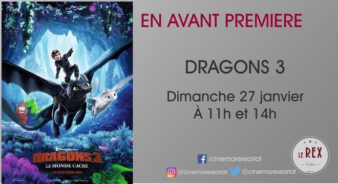 Avant Première: DRAGON 3 le monde caché // Dimanche 27 Janvier à 11h et 14h