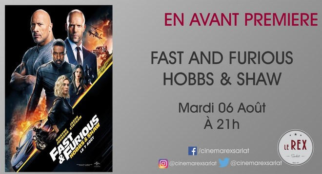 Sortie Nationale : FAST AND FURIOUS - Hobbs & Shauw // Mardi 06 Août à 21h