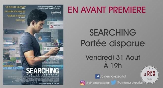 Avant première SEARCHING - PORTÉE DISPARUE // Vendredi 31 Août à 19h