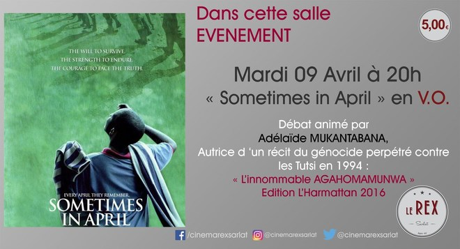 Soirée sur le génocide Tutsi: SOMETIMES IN APRIL // Mardi 09 Avril à 20h