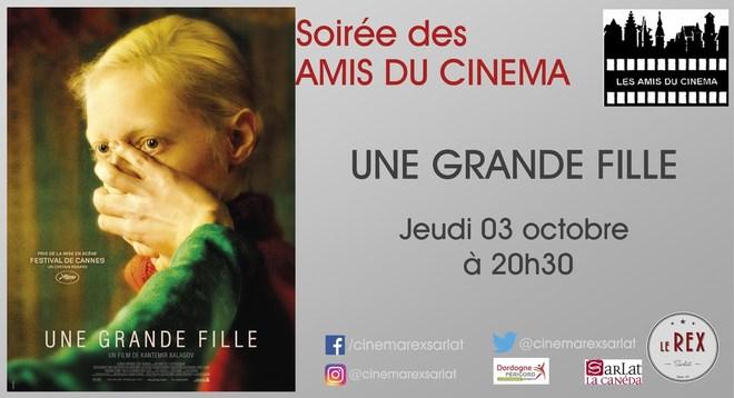 soirée amis du Cinéma: UNE GRANDE FILLE // Jeudi 03 Octobre à 20h30