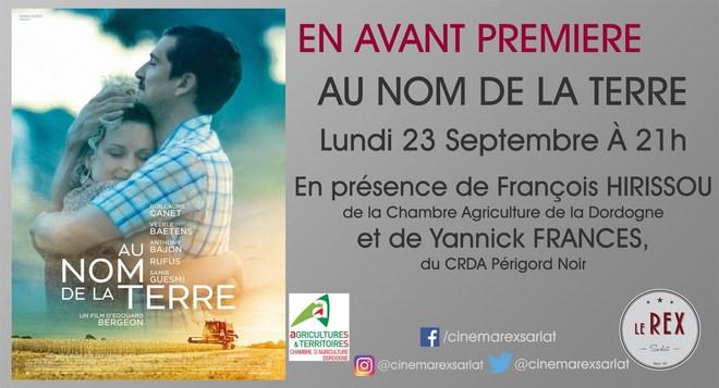 Avant Première: AU NOM DE LA TERRE // Lundi 23 Septembre à 21h